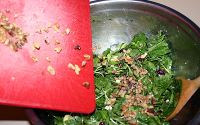 Walnut Cranberry Spinach Salad Step 7 - Mostly Meatless Almost Vegetarian Recipes