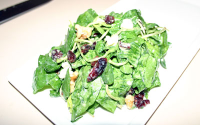 Walnut Cranberry Spinach Salad Final - Mostly Meatless Almost Vegetarian Recipes